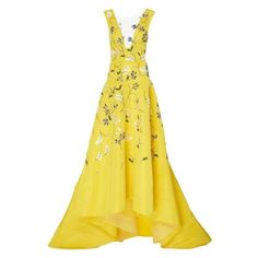 Monique Lhuillier Silk V-Neck Asymmetric Gown ❤ liked on Polyvore featuring dresses, gowns, v neck gown, floral print evening gown, floral gown, yellow ball gown and silk gown
