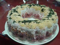 Σαλάτα τρίχρωμη γιορτινή Pastry Cake, Greek Recipes, Food And Drink, Cooking Recipes, Diet, Baking, Desserts, Xmas, Christmas