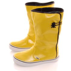 Vans yellow rain boots with skull clasp. Yellow Vans, Black N Yellow, Yellow Rain Boots, Yellow Wellies, Vans Boots, Garden Boots, Yellow Fever, Lemon Yellow, Shades Of Yellow