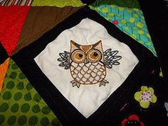 Owl - Baby Quilt square close-up - Hand embroidered #embroidery #quilt