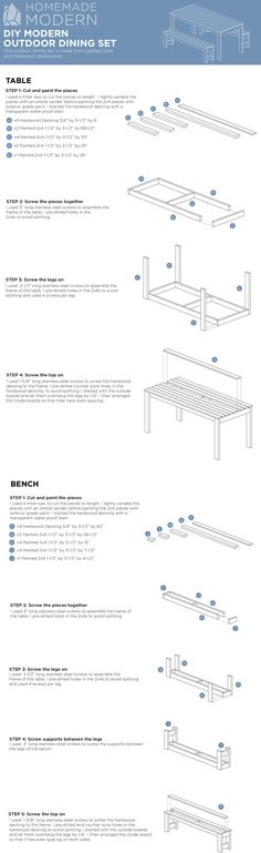 HomeMade Modern EP101 DIY Outdoor Dining Table