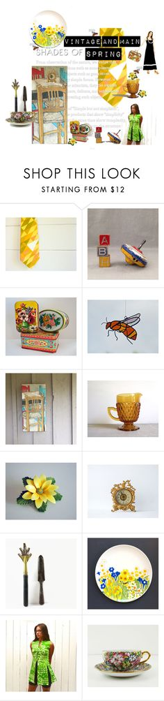 """""""Vintage and Main Shades of Spring"""" by untried-shop on Polyvore featuring interior, interiors, interior design, home, home decor, interior decorating and vintage"""