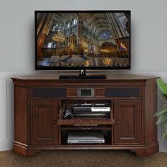 Have to have it. Harmony Corner Audio TV Stand - Delmont Cherry - $599 @hayneedle