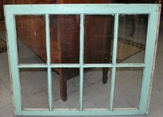 Vintage 8 Pane Window Frame Sash Painted Green on Front and White $14