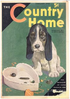 Valentine Basset Hound puppy 1932 cover by ArcaniumAntiques, $15.00
