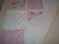 Crib Rag Quilt Style Lovey Pink White Roses by CottageDome on Etsy