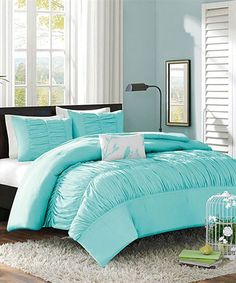 Light Blue Ruffle Chelsea Duvet Set | zulily