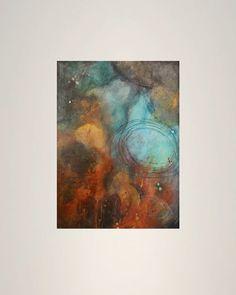 original abstract painting rain blue aqua puddle by LeahFittsArt, $200.00