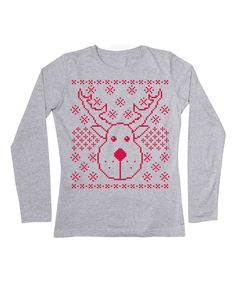 Matching Ava Look at this Athletic Heather Reindeer Face Tee - Women on #zulily today!