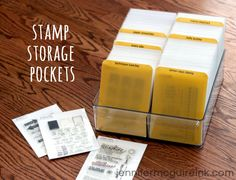 "Cool stamp storage idea from Jennifer McGuire! She stores her clear stamps in CD Binder Sleeves (carefully cut down) and a ""Fridge Binz"" container! Scrapbook Paper Storage, Scrapbook Room Organization, Craft Organization, Scrapbook Rooms, Craft Room Storage, Storage Ideas, Craft Rooms, Diy Storage, Storage Solutions"