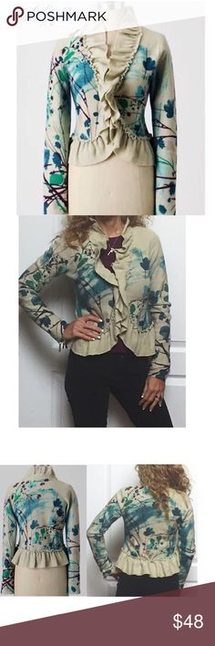 Anthro Guinevere Full Canvas Watercolor Sweater Anthropologie Guinevere Full Canvas Watercolor Boiled Wool Sweater  Beautiful floral brushstrokes with Ruffle Trim Detailing  Hook & Eye Front Closure  Boiled 100% Merino Wool Sz. XS VERY GENTLY PRE-OWNED! EXC - WORE ONLY 1-2 TIMES!!  💐20% OFF BUNDLES 👆🏼Please use offer button to submit offer  👉🏼 view OFFER CHART for reference  👉🏼REDUCED/LOWERED/FINAL items at lowest~bundle for add'l disc 👉🏼LOWBALL offers will not be considered…