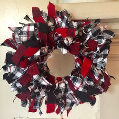 Excited to share the latest addition to my shop: Farmhouse Plaid Wreath - Mini Wreath - White and Red Buffalo Plaid Wreath - Farmhouse Decor - Shabby Chic Wreath Rag Wreaths, Door Wreaths, Shabby Chic Wreath, Shabby Chic Decor, Christmas Wreaths, Christmas Decorations, Holiday Decor, Wreath Ideas, Crafty Projects