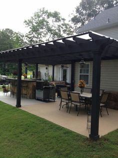 Backyard porch ideas on a budget patio makeover outdoor spaces best of i like this open layout like the pergola over the table grill Hinterhof Veranda Backyard Patio Designs, Pergola Designs, Pergola Patio, Backyard Landscaping, Pergola Ideas, Cozy Backyard, Diy Patio, Backyard Porch Ideas, Backyard Gazebo