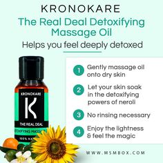 Kronokare The Real Deal Detoxifying Massage Oil  Helps you feel deeply detoxed