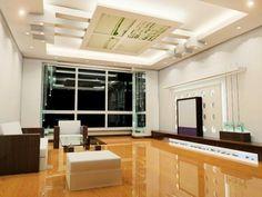 modern false ceiling led lights: living room with indirect lighting