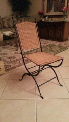 Rattan And Iron Folding Chair