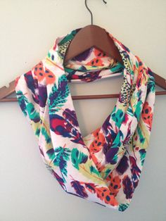 Jersey Infinity Scarf / Bright Feathers by LilyAlyssaBoutique, $19.00