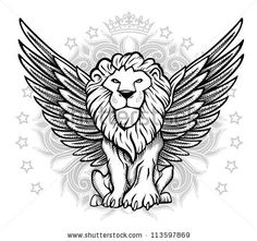 Winged Lion Front View Drawing Stock Vector Illustration 113597869 ...