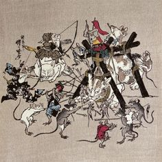 The great war of cats and mouses, 1868 by Kawanabe Kyosai