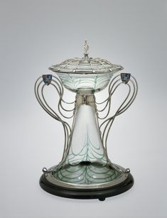 Centerpiece with Silver Mount by Harry Powell, 1906. | Corning Museum of Glass #glass #Modern glass #centerpiece