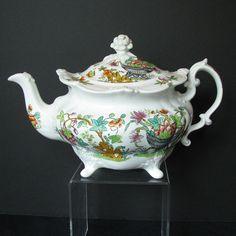 Ridgway Teapot, Molded Rococo Shape on 4 Feet, Antique English Chinoiserie c 1830