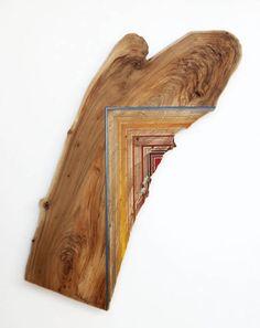 Jason Middlebrook's wood paintings.