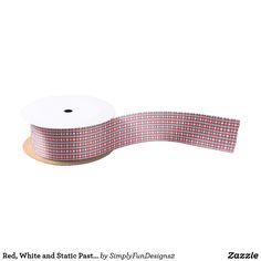 Red, White and Static Pastel Blue Weave Satin Ribbon