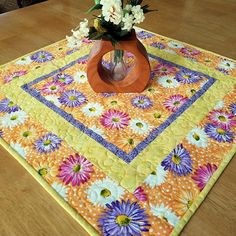 Spring table topper floral table quilt Easter table decor