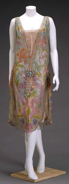 Callot Soeurs Dress - c. 1926 - by Callot Soeurs, Paris - Silk, silk and metallic lace, and imitation pearls and opals - Irises and water avens adorn this elegant dress - Indianapolis Museum of Art - Mlle by samavasquez 20s Fashion, Art Deco Fashion, Fashion History, Vintage Fashion, Fashion Design Inspiration, Mode Inspiration, Vintage Gowns, Vintage Mode, Antique Clothing