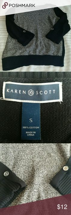 Karen Scott Boat Neck Sweater Size Small Karen Scott boat neck sweater White black and grey color Size small 100% cotton There is one pull along the neckline (view last photo) Overall sweater is in good condition Karen Scott Sweaters