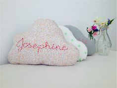 Handmade Little Cloud cushion can be customised with different names and fabrics. Available to buy online from Dubai based www.littlecerise.littlemajlis.com