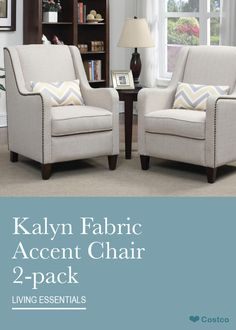 The Kalyn Fabric Accent Chair 2-pack features exceptional comfort, quality and style, perfect for any home or office. This comfortable fabric upholstered accent chair features classic nail head trim with hand finished wooden legs. Tri-tone accent pillow also included.
