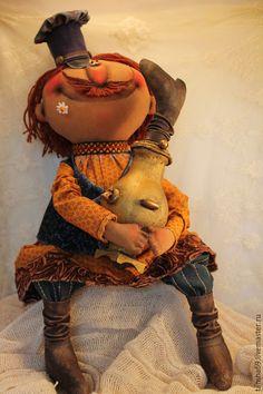 Купить Чайку-с?! - разноцветный, текстильная кукла, интерьерная кукла, ароматизированная кукла, народный стиль