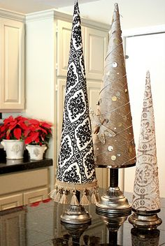 Cone trees made from poster board and fabric?! cute and simple!