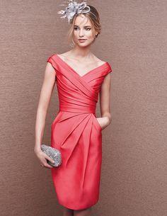 53.18  New a ligne Cap manches V cou plissé rouge Satin genou longueur mère  de la mariée parti robe de soirée formelle robe 2 4 6 8 10 12 14 16 ... fbe769a216d7