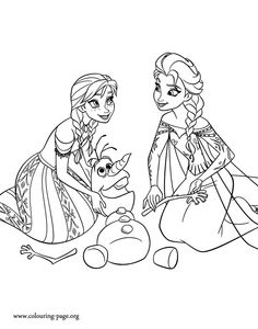 Elsa and Anna putting together Olaf