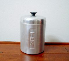 Vintage Tea Canister Brushed Aluminum Italy by ClassicMemories, $9.50