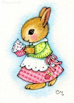 Cupcake Bunny ACEO - Carmen Medlin