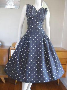 Round She Goes - Market Place - Vintage 50s polka dot drop waist dress