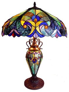 Blue Iris Victorian Doubλαμπατ  ερle-Lit Table Lamp