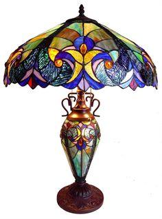 Blue Iris Victorian Doubλαμπατ  ερle-Lit Table Lamp
