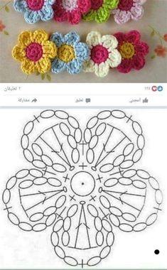 Crochet Puff Flower, Crochet Flower Tutorial, Crochet Flower Patterns, Crochet Flowers, Knitting Patterns, Crochet Diagram, Crochet Chart, Crochet Motif, Crochet Doilies