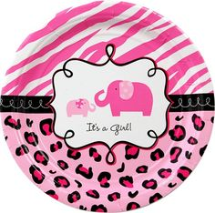 "Pink Elephant Safari ThemeJust like the arrival of a new baby, we are excited to announce a brand new product line, Sweet Safari Girl that we will have available to you by March 12th, 2012!  This sweet baby shower design will make any new mom expecting a baby girl feel like she is a true diva!  Candy pink zebra stripes combined with the black and hot pink leopard print give these party supplies a wild and modern-day approach to any baby shower.  The large 10 ½"" luncheon plate and the 7""…"