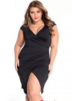 Plus Size Black Ruched Jersey Wrap Midi Dress - Plus Size Casual Dresses - Ideas of Plus Size Casual Dresses Plus Size Maxi, Plus Size Girls, Plus Size Dresses, Tight Dresses, Sexy Dresses, Casual Dresses, Plus Size Looks, Plus Size Model, Curvy Women Fashion