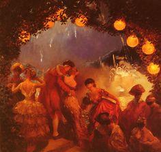 Gaston La Touche, French post-impressionist painter, 'L'Intrigue Nocturne' Oil on canvas Nocturne, Landscape Paintings, Lovers Art, Painter, Artist Blog, Painter Blog, Painting, Painting Reproductions, American Artists