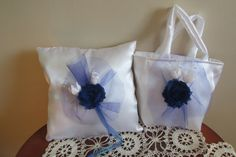 Navy Ring Bearer Pillow Flower Girl Petal Bag by LadyBugSewn