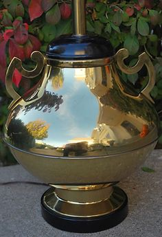 Vintage Oriental Brass Ginger Jar Urn Table Lamp with Scrolled Handles Asian  #GingerJarUrn