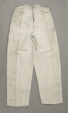 (c. 1850s) American trousers made of cotton and linen.