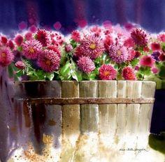 """Fine Art and You: Korean Watercolor Painter """"Shin Jong Sik"""" Gold Watercolor, Watercolor Artists, Watercolour Painting, Watercolor Flowers, Art Floral, Art Et Nature, Art Aquarelle, Korean Artist, Beautiful Paintings"""