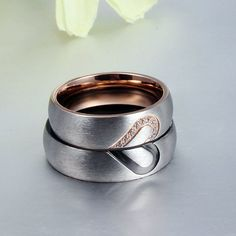 Love Heart Couple Rings for Women And Men